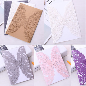 12 Colors Hollow Out Pearl Lace Laser Cut Wedding Invites Cover, Invitations Covers for Engagement Bridal Shower Graduation