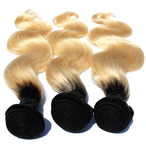 T1b / 613 Ombre Blonde Hair Bundle 8inch-30inch Dark Roots with # 613 Body wave Hair armadura brasileña Remy de cabello humano