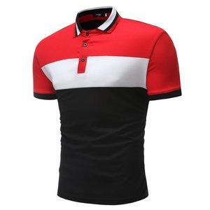 Moda Yaz Kısa Kollu Polo Gömlek Erkekler Nefes Kontrast Renk Polo Homme Nedensel Slim Fit Camisa Polo Masculina 1501-P09