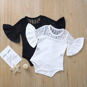 2020 여름 아기 장난 꾸러기 솔리드 컬러 레이스 디자인 플레어 짧은 소매 옷을 빌려 유아 바디 슈트 부티크 신생아 의류 M1108 등반