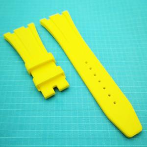 26mm / 18mm Jaune Mode de haute qualité en silicone souple / bracelet en caoutchouc bande pour AP Royal Oak Audemars Piguet