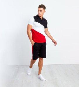 Men's Striped Stitching Tracksuit Hip-hop Mens Muscle Workout Clothes European and American Style Men Polo Shirt Lapel Suit Size M-3XL