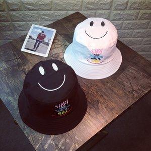 La nueva manera ocasional Pescador sombrero del cubo Pesca Caza del casquillo del sombrero precioso cara de la sonrisa de Protección Solar algodón Pescador Hombres
