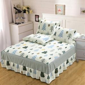 New fashion Princess style white stripe Bed skirt 100%cotton pillowcase Printed Light christmas tree textiles queen King