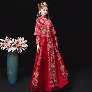 XiuHe Traditionelle Chinesische Hochzeitskleid Qipao Tracht der Frauen Overseas Chinese Style Bride Stickerei Cheongsam