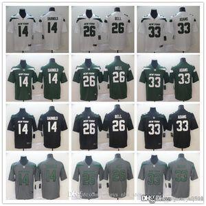 Мужчины женщины молодежь Нью-Йорк Джетс Джерси 26 Le'VEON Bell 33 Джамал Адамс 14 Сэм Дарнольд футбольные майки зеленый серый черный белый
