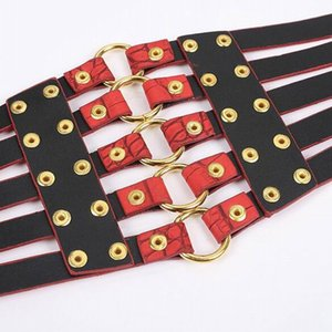 Fashion Self Tie Wide Belts belt Elastic slim corset body shaper black faux leather retro Punk Rivet Waist belt Cummerbund