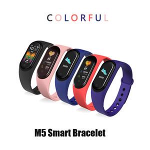 Pulsera de reloj de la aptitud del deporte M5 Banda Rastreador pantalla colorida de tensión inteligentes ritmo cardíaco sangre SmartBand Health Monitor Muñequera Vs M3 M4