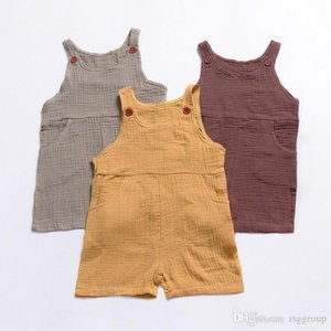 Newest Pocket Button Baby Girls Overalls Pants Kids Girls Rompers Pant Plain Solid Toddler Outfits Sleeveless Belt Baby Girls Boys Bib Pants