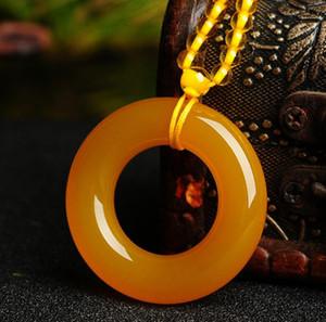anneau de glace boucle jaune sécurité agate calcédoine pendentif mâle nostalgique pendentif femelle chaîne de chandail