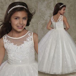 2020 New Crew Neck Backless Flower Girl's Dresses Lace Appliques Cute Toddler Little Girl's Dresses Princess Button Back Kid's Formal Wear