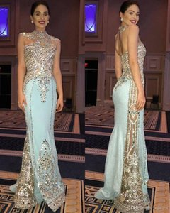 2019 Custom Made Bling Crystal Mermaid Pageant Abiti da sera Sexy lungo che borda guaina Mint Party Prom Dresses New Designer Occasion Gowns