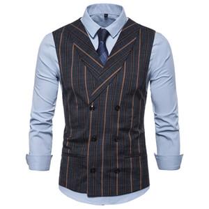 De vestes Diseñador Pour Hommes Inglaterra Rayado Estilo delgado doble de pecho solapa de cuello forman Hombres Chaleco