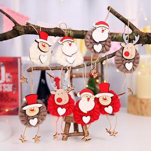 Doll Ciondolo Natale 3Pc creativo Wooden Sign decorazione di Natale di festa albero gancio per porte e finestre di goccia Ornament Casa Decoratiion