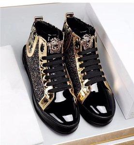 Luxus Frühling und Herbst Herren-Freizeitschuh high-top Schuhe Hip-Hop-Trend Herrenschuhe italienische Art-Geschäfts-Party-Designer-Schuh W375