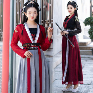 6603 traditional Hanfu women's Embroidered Formal dress double-breasted embroidery dress suit student stage performance suit