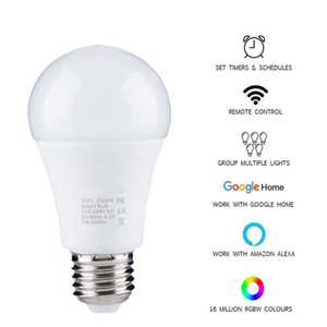 New Wireless 2.4 Smart Bulb home Lighting lamp 7W E27 Magic RGB +W LED Change Color Light Bulb Dimmable IOS  Android