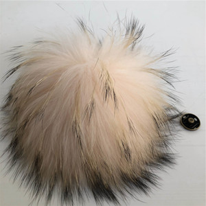 "15cm 6""-Pink Real Raccoon Fur Pompom Ball W Button On Hat Bag Charm Key Chain Keyring DIY Accessories"