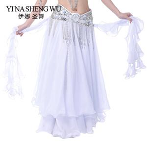Yeni Şifon Rulo Yaprak Çift Yarık Etek Belly Dance Şifon Etek Belly Dance Yüksek Yarık Kadınlar Elbise (Kemer Olmadan) 13 Renk