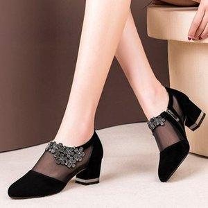 Fashion Women Shoes Sexy Black Hollow Mesh Pointed Heels Female Elegant Flower Shaped Rhinestone Ornament Footwear Ladies 35-43 Y200702
