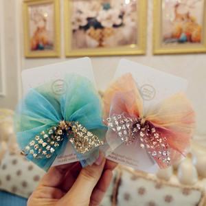 Boutique 12pcs clipes Moda Glitter bonito Gaze Arco Grampos Gradient Mesh bowknot cabelo princesa Headwear Meninas Acessórios de cabelo