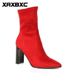 2019 New Winter Spring Autumn Flock Short Mid Calf Boots Warm Women High Heels Short Fur Boots Ladies Mujer Shoes