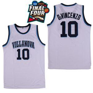 NCAA Villanova Wildcats # 10 Donte DiVincenzo 25 Mikal Bridges 1 Jalen Brunson Blanc Marine 2019 Four College Basketball final Cousu