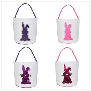 Huevo de color cesta de Pascua Conejo Conejo brillo Impreso lienzo bolsos caramelo Bolsas juguete Holiday Party Gift Bag WY256Q