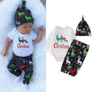 2020 On Sale Infant neugeborenes Baby-Kleidung der langen Hülse Buchstabedruckes Baumwolle Romper tops Deer Druck Hosen Hut Outfit Set 3