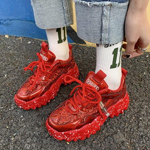 Moipheng Chunky 2020 New Arrival Bling PU White Woman Sneakers Sequined Cloth Zapatillas Mujer Girls Casual Shoes Y200424