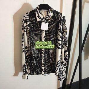 여성용 럭셔리 디자이너 동물 인쇄 레이스 셔츠 패션 옷깃 목 패널 긴 소매 고품질 사용자 정의 모자 소매 활주로 셔츠