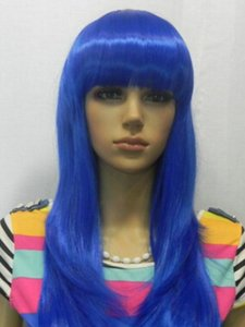 WIG free shipping Fashion Beauty Natural Looking Nightclub Party Costume Long Curly Blue Hair Wigs