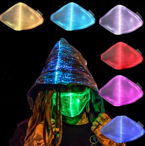 LED Flash Mask 7 Colors Glow Suitable For Men And Women Carnival Mask Music Party Christmas Halloween Glow Mask Black