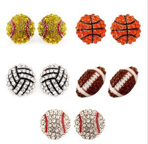 2019 спорт баскетбол волейбол шпилька серьги Bling бейсбола софтбол стержня серьги Rhinestone Кристалл Bling Спортивные девушки GB1258