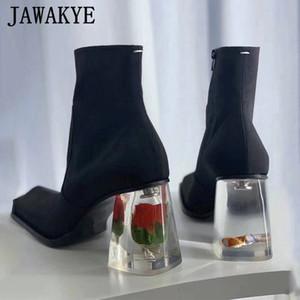 2020 cigarrillo de flores de primavera Claro Rose Chunky Heels Boots cauce del dedo del pie cuadrado de seda las botas del tobillo de la novedad Ins Moda Calzado mujer