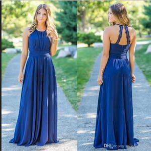 2019 Sexy Halter Chiffon Long Country Bridesmaid Dresses Ruched Lace Applique Floor Length Maid of Honor Wedding Guest Dresses BM0144