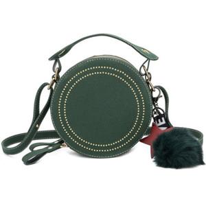 Rodada Bandoleira Sacos para Mulheres Bolsas Rivet Matte Couro Messenger Bags Mulheres Bolsa Círculo bonito Shoulder Estrela meninas pendant