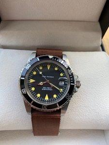 Top retro relógio de luxo dos homens automática mecânica liquidação movimento 316 fino cinto de lona caixa de aço de nylon 39 milímetros alta de vidro reforçada