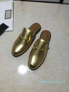Des femmes des hommes tous les mocassins mule design mules chausson en cuir d'or pantoufle Luxuy chaussures de sport mules dorées de grande taille EUR34-46 r10