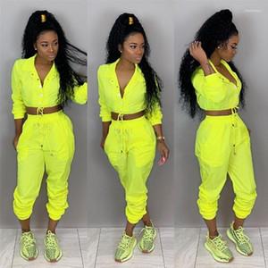 Pantalones Solid Color Sports Set Con Botón Femenino Jumpsuit Casual Ropa Ropa Spring Mujeres 2pcs