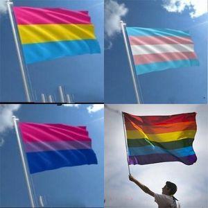 90x150cm Panseksüel Tansgender Bayrak Yeni Polyester Gökkuşağı Bayraklar Banner Parti Sıcak Satış 4 8QT B2 Banner Parade Kutlama Makaleler Malzemeleri