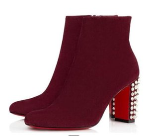Elegant Brand Suzi Folk Ankle ,Wine-red,Black Suede & Leather Lady Red Bottom Women Chunky Heels Winter Fashion Boot With Box cs09