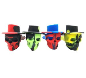 Skull Shaped Silicone Smoking Pipes With Metal Bowl Hat Cover Hand Cigarette Filter Tobacco Spoon Pipes 11cm Length