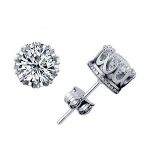 Мода Корона Свадебные серьги стержня серьги стерлингового серебра 925 CZ Симулированные Diamonds Обручальное Красивая свадьба Обручальное подарка ювелирных изделий
