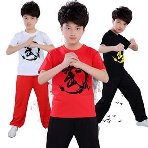 Для высоты 110-180cm Детей Единоборства Китайского WU кунгф Обучение Набор летней Одежды наборы Костюмы Тайцзи бокс производительности