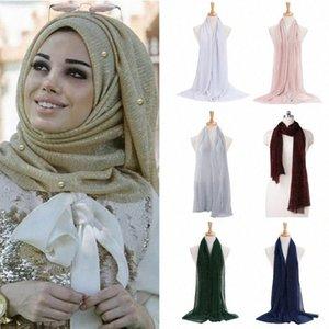 Mulheres Shimmer Hijab Faux pérolas com cercadura Crinkle Xaile muçulmana islâmica Turban Scarf w1hM #