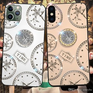 Luxury for iphone 11 Pro Max 6 6S 7 8 X XR XS Case Diamond clock With Ring Stand Lanyard back cover samsung s10 s9 s8 plus note 10 9 8