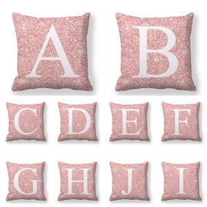 Nouveau motif Housse de coussin de velours Peach Skin 26 Lettres anglaises Coussins Sofa Literie Taie Décoration 45x45cm 3 9JW D2