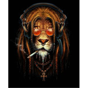 Smoke Glass Lion Animal 5D Diamond Round Rhinestone Embroidery Painting DIY Cross Stitch Kit Mosaic Draw Home Decor Art Craft Gift
