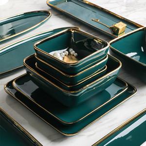 Louça Verde Jantar Cerâmica Set ouro embutimento Porcelain Dessert Plate Steak Snack Bolo Prato Salada Sopa Rice Bowl Atacado T200107